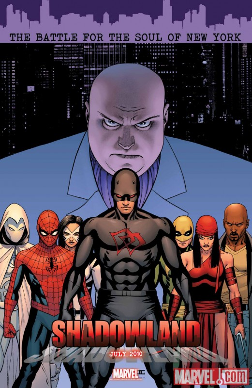 Image Featuring Daredevil, Elektra, Iron Fist (Danny Rand), Kingpin, Moon Knight, Spider-Man, White Tiger (Angela Del Toro)