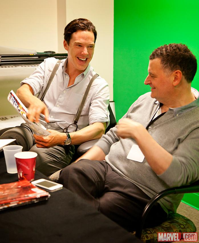 Sherlock Star Benedict Cumberbatch and Executive Producer Steven Moffat during a This Week in Marvel Podcast