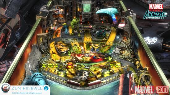 Screenshot from Marvel Pinball: World War Hulk for the Wii U.