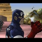 Captain America in a color storyboard from Marvel's Avengers Assemble