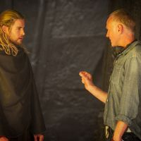 Star Chris Hemsworth (Thor) and director Alan Taylor on set of Marvel's Thor: The Dark World