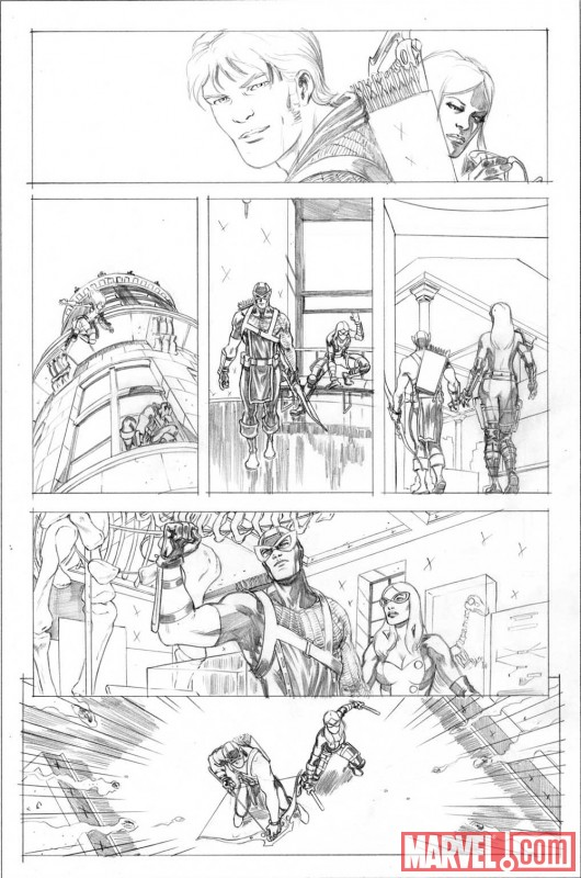 HAWKEYE & MOCKINGBIRD #4 pencil art by David Lopez 3