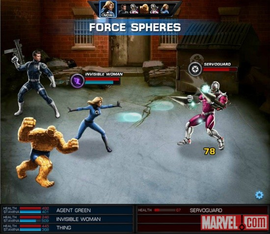 Invisible Woman and Thing screen shot from Marvel: Avengers Alliance
