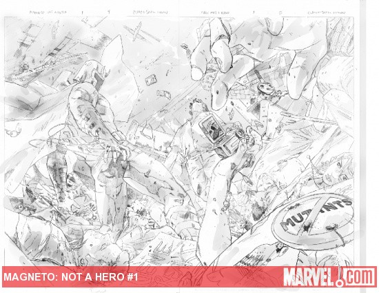 Magneto: Not a Hero #1 preview pencils by Clay Mann