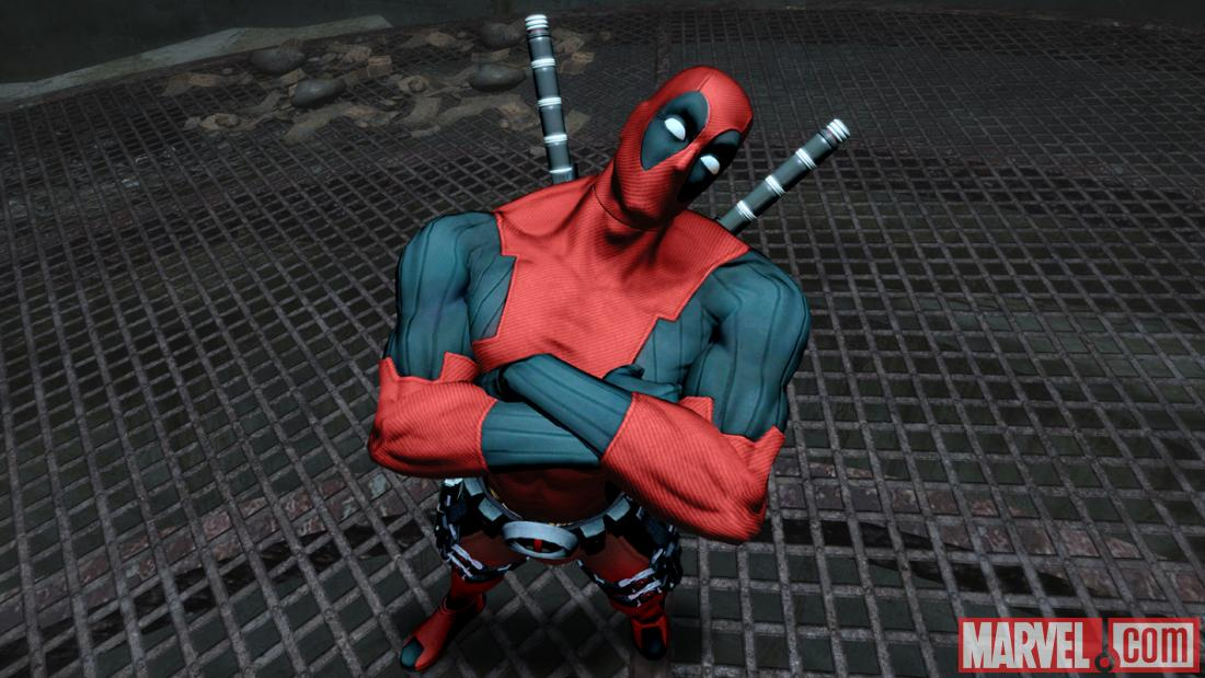Deadpool strikes a pose in a screenshot from his video game