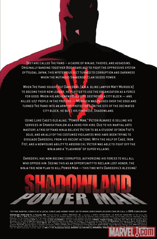 SHADOWLAND: POWER MAN #3 recap page
