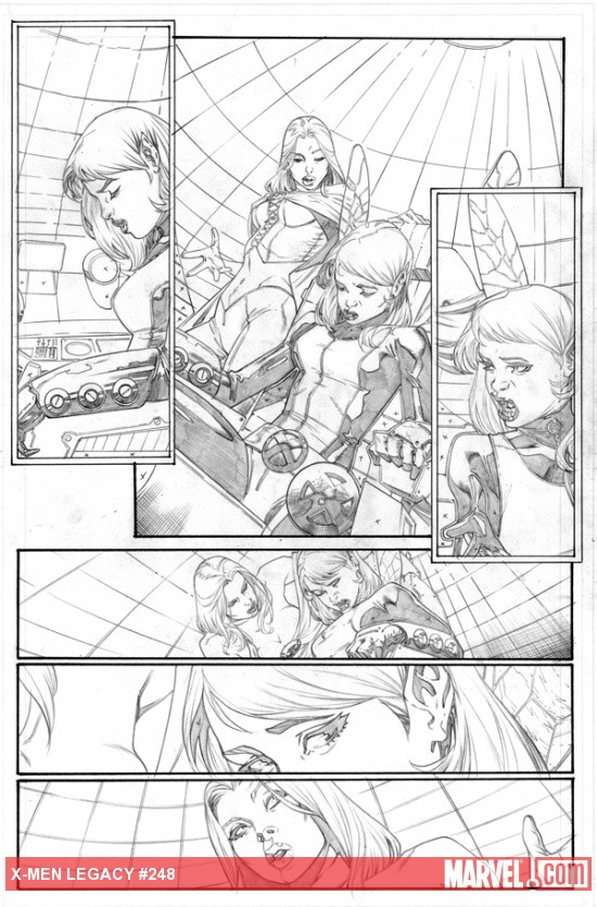 X-Men: Legacy #248 pencil art by Jorge Molina