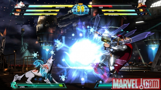 Screenshot of Amaterasu and Thor from ''Marvel vs. Capcom 3''
