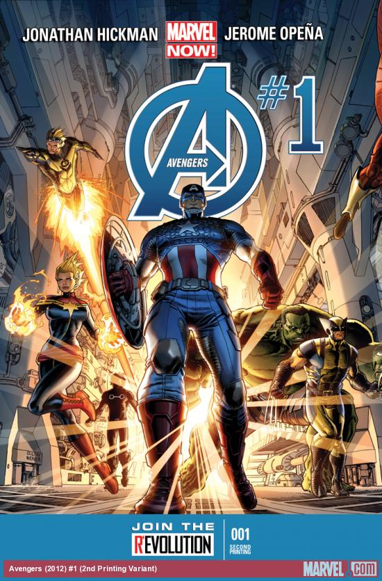 cover from Avengers (2012) #1 (2ND PRINTING VARIANT)