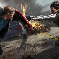 Captain America faces the Winter Soldier in concept art from Marvel's Captain America: The Winter Soldier by Ryan Meinerding