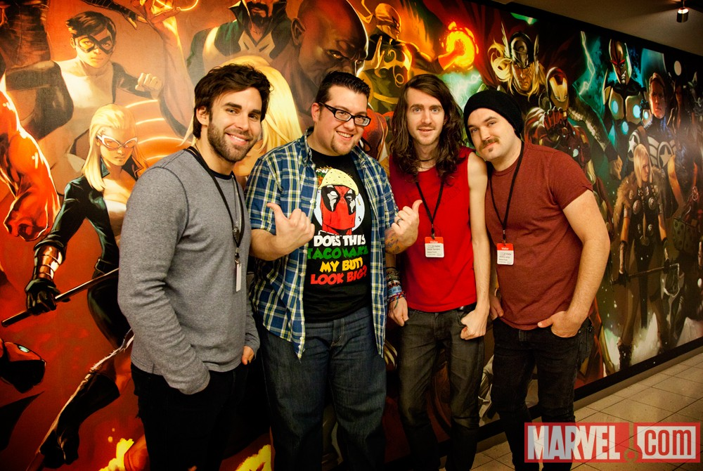 Agent M with Mayday Parade members Jake Bundrick, Derek Sanders and Jeremy Lenzo at Marvel HQ in NYC