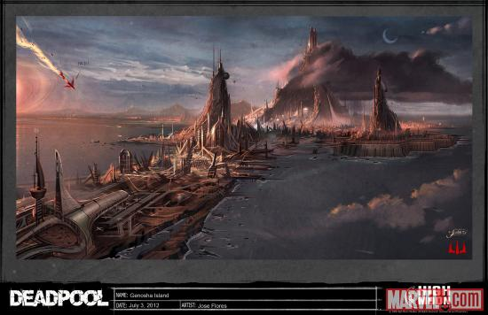A look at the island of Genosha in the Deadpool video game