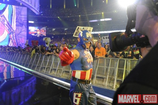 Rey Mysterio channels Captain America at WrestleMania XXVII