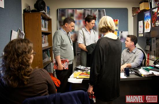 Benedict Cumberbatch, Steven Moffat and Sue Vertue with Marvel Senior Editor Stephen Wacker and editor Ellie Pyle