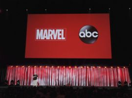 Jeph Loeb on stage at the Marvel's Agents of S.H.I.E.L.D. panel at D23 Expo