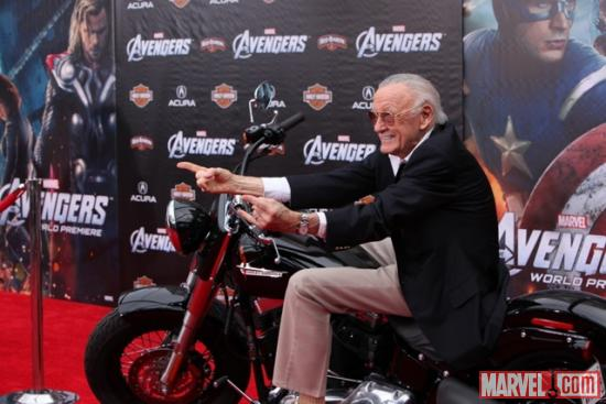 Stan Lee on a Harley-Davidson at the Avengers red carpet premiere