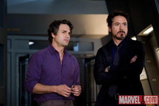 Mark Ruffalo and Robert Downey, Jr. star as Bruce Banner/Hulk and Tony Stark/Iron Man in Marvel's The Avengers
