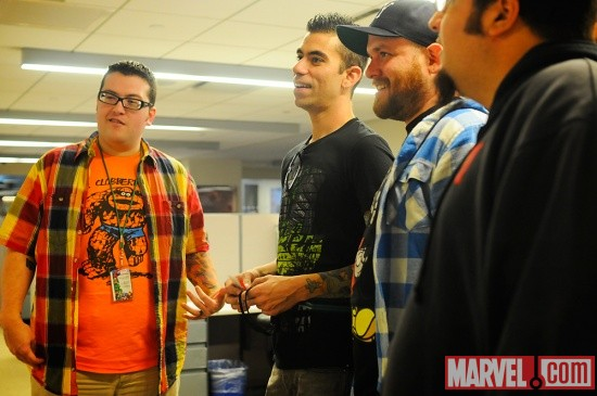 Agent M with New Found Glory members Steve Klein and Cyrus Bolooki at Marvel HQ in NYC