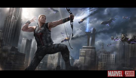 Hawkeye final battle concept art by Andy Park from Marvel's The Avengers