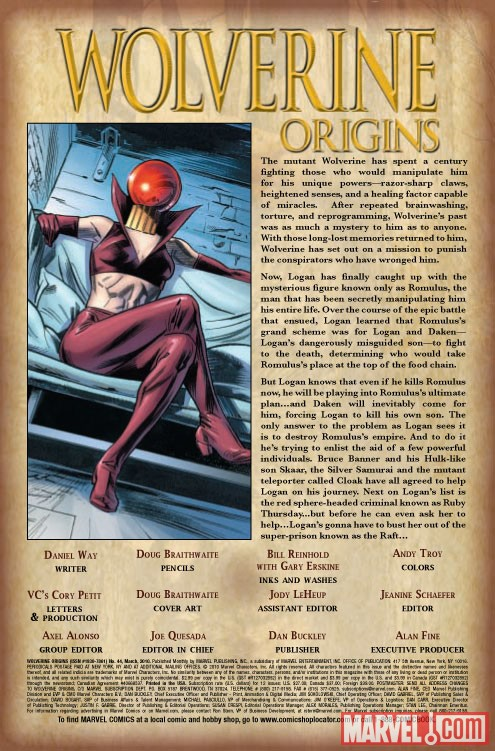 WOLVERINE ORIGINS #44  Recap Page