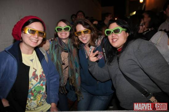 Some of the fans at El Capitan Theatre's midnight screening of Marvel's The Avengers