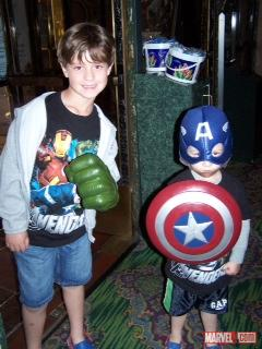 Young Avengers fans at the midnight showing of Marvel's The Avengers in Hollywood
