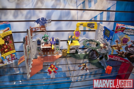 Super Hero Squad figures on display at the Hasbro Showroom