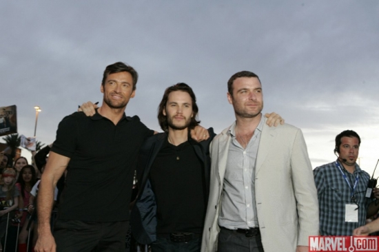 Hugh Jackman, Taylor Kitsch and Liev Schreiber at the ''X-Men Origins: Wolverine'' movie premiere in Tempe, Ariz.