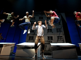 Reeve Carney as Peter Parker and ensemble rehearsing 'Bullying By Numbers,' a scene from Spider-Man: Turn Off The Dark