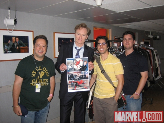 Joe Quesada, Conan O'Brien, Paolo Rivera and Steve Wacker