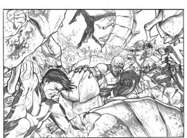 Avengers (2012) #15 preview inks by Stefano Caselli