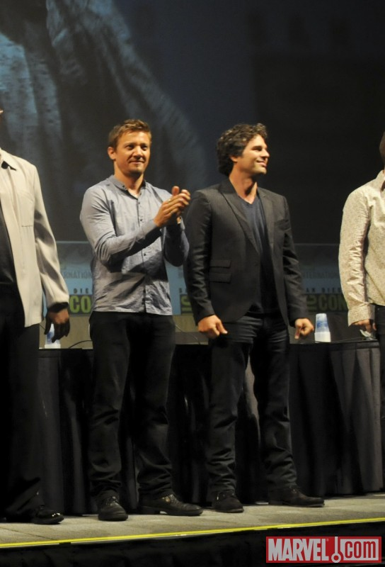 Jeremy Renner (Hawkeye) and Mark Ruffalo (Bruce Banner) on stage at Comic-Con 2010