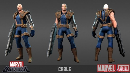 Cable model sheet from the Marvel Universe MMO