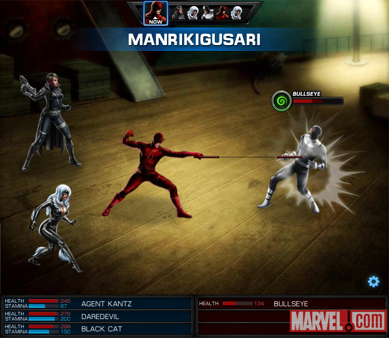 Daredevil and Black Cat vs. Bullseye screen shot from Marvel: Avengers Alliance
