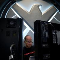 Director Joss Whedon on set of Marvel's The Avengers