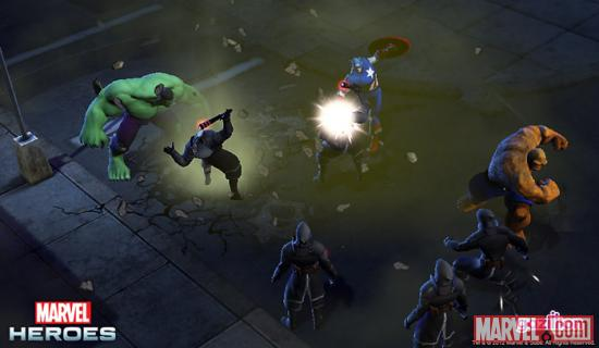 Screenshot of Hulk, Captain America, and the Thing from Marvel Heroes
