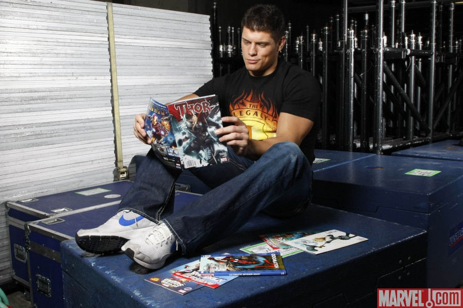 WWE Superstar Cody Rhodes reading THOR