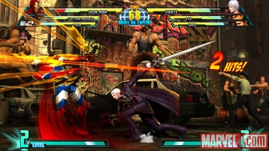 Screenshot of Iron Man vs. Dante from Marvel vs. Capcom 3