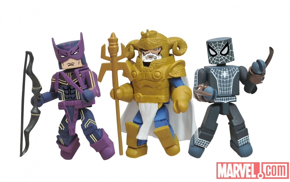 Hawkeye, Spider-Man, and Odin Minimates from Diamond Select Toys