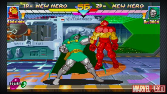 Screenshot of Doctor Doom vs. Iron Man in Marvel vs. Capcom Origins