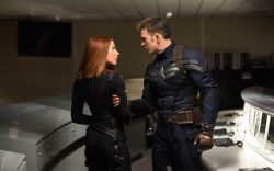 Scarlett Johansson & Chris Evans star as Black Widow & Captain America in Marvel's Captain America: The Winter Soldier