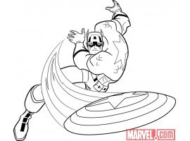 Black and white lineart of Captain America from 'The Avengers: Earth's Mightiest Heroes!'