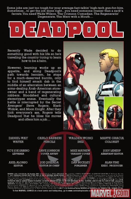 DEADPOOL #28 recap page