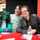 Adam Kubert, Nick Lowe and She-Hulk Cosplayer at Avengers Vs X-Men Release Party at Midtown Comics