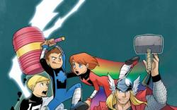 Thor and the Warriors Four #1 cover by Gurihiru