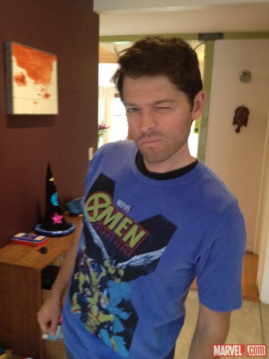 'Supernatural' star Misha Collins in an X-Men t-shirt