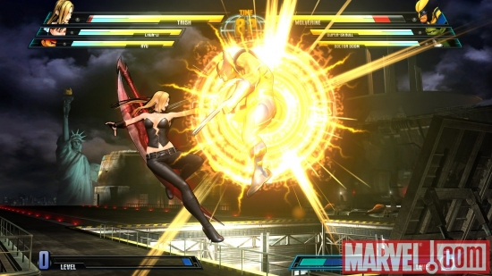 Screenshot of Wolverine and Trish from ''Marvel vs. Capcom 3''
