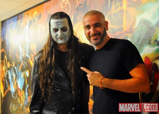 Editor-in-Chief Axel Alonso with Dez Cadena of The Misfits at Marvel HQ in NYC