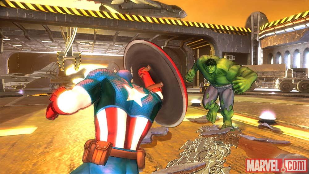 Captain America versus Hulk in Avengers: Battle for Earth