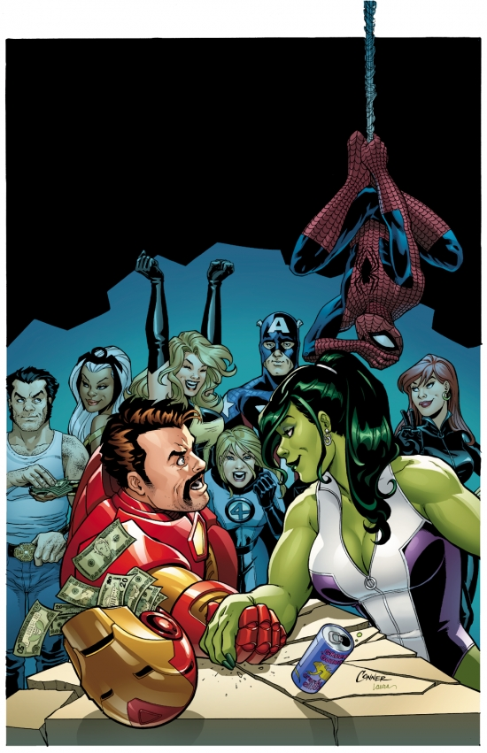 Image Featuring Iron Man, She-Hulk (Jennifer Walters), Spider-Man, Storm, Wolverine, Captain Marvel (Carol Danvers), The Winter Soldier, Black Widow